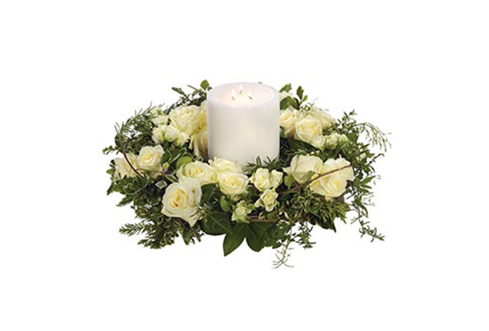 White Rose Wreath And Candle Peaches Amp Herbs Flower