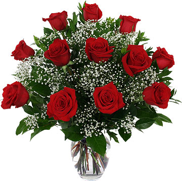 Dozen red rose bouquet
